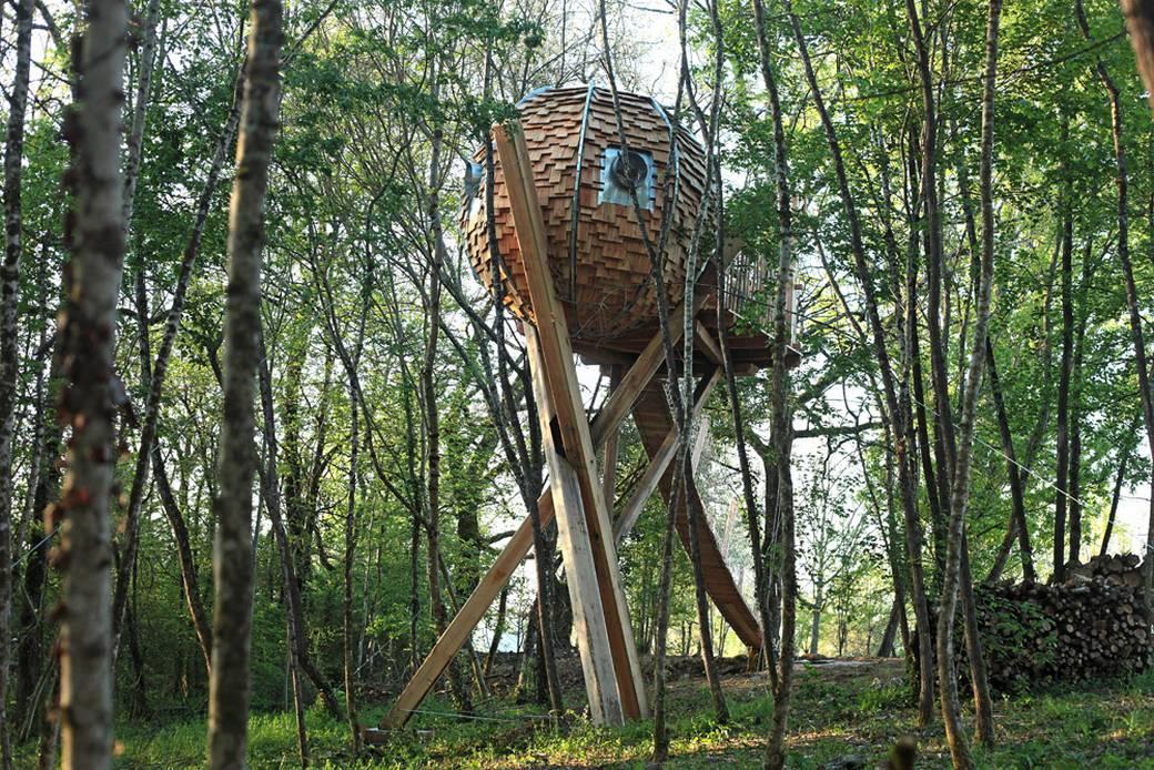 Une cabane en forme de nid dans les arbres sur un for Construire un miroir